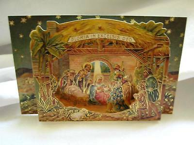 Collectible Christmas Crèche with Holy Family NATIVITY SCENE Gold highlighting!