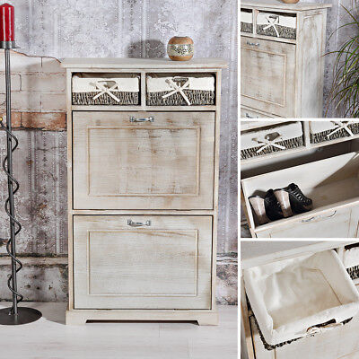 schuhschrank schuhkipper shabby stil schuhregal schuhablage mit 3 f chern regal eur 68 90. Black Bedroom Furniture Sets. Home Design Ideas