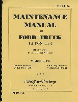"TM10-1435 ~ 1.5 Ton Ford ~ GTB ""Burma Jeep "" ~ Maint Manual ~ 1942 ~ Reprnt"