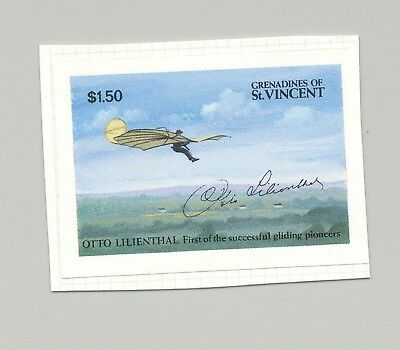 St Vincent (Grenadines) #809 Otto Lilienthal, Aviation 1v Imperf Proof on Card