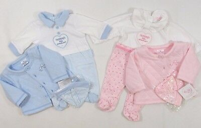 Baby Babies Boys Girls Babygrow Padded Button Up Jacket Pants Hat 3 Piece Set NB