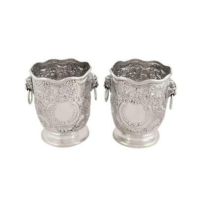 Pair Of Antique Victorian Sterling Silver Vases - 1899