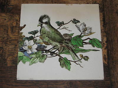 Large Victorian Brown Westhead & Moore Tile Aesthetic Bird Flowers Design