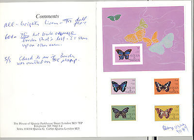 Antigua #850-854 Butterflies 4v & 1v S/S Imperf Proofs Mounted in Folder