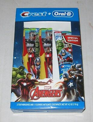 CREST PRO-HEALTH + Oral B Marvel Avengers 2 Toothbrushes + Toothpaste Set