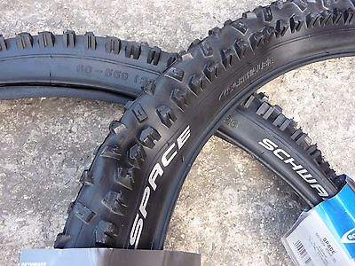 "Schwalbe Space 26x2.35"" MTB Tyre Knobbly Offroad Black kevlar Guard"