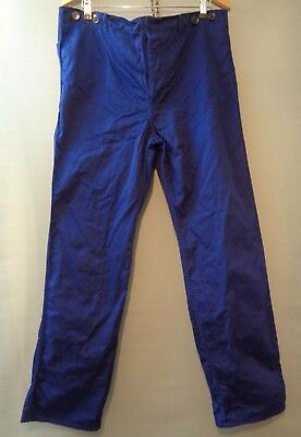 Vtg French indigo blue cotton work trousers worker workwear chore pants