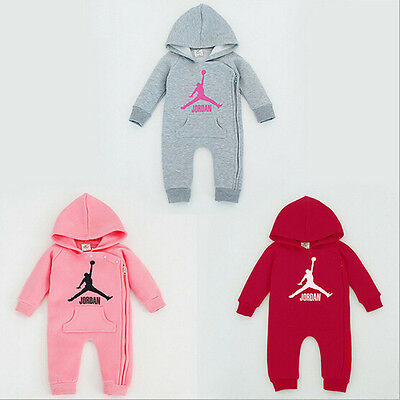 Hot Baby Jordan 23 Romper +Hat Newborn Boy Girl Bodysuits Babygrows Outfits Set