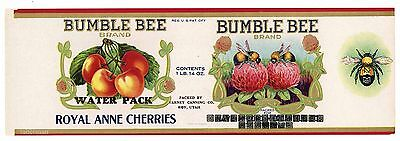 BUMBLE BEE, Roy Utah Cherry Can Label, *AN ORIGINAL 1920's TIN CAN LABEL* 131