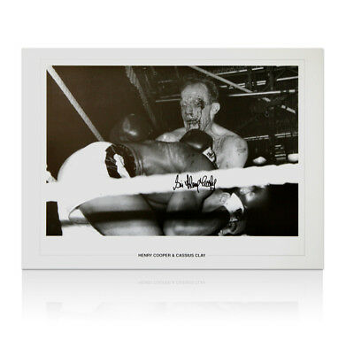 Henry Cooper signed Cassius Clay print - Bleeding Autograph