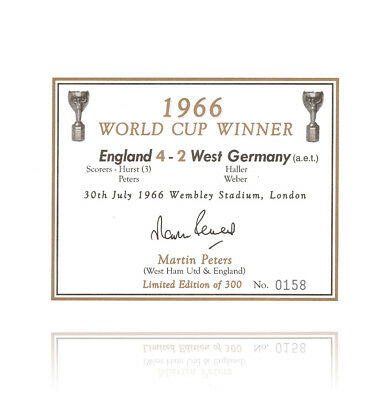 Martin Peters hand signed champagne label - 1966 Autograph