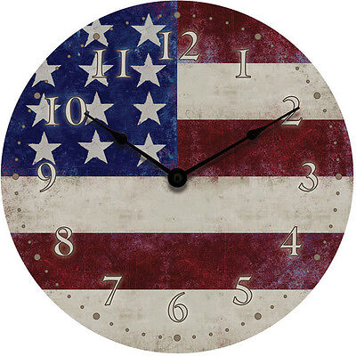"""Geneva 12"""" American Flag Dial Wall Clock Battery Operated with Metal Hands"""