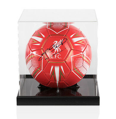 Steven Gerrard Signed Football Liverpool FC In Acrylic Display Case