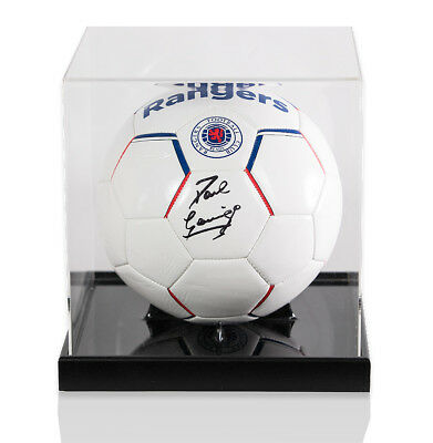 Paul Gascoigne Signed Football Rangers In Acrylic Display Case Autograph