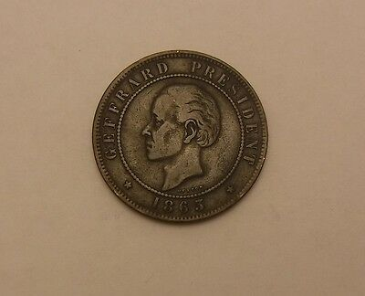 1863 Haiti 20 Centimes- No Reserve !! Better Date !! Nice Details