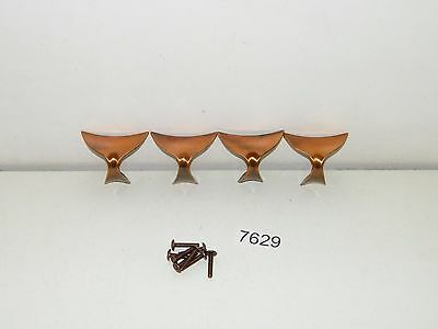 4 Vintage Mid Century Drawer Pulls Cabinet Handles Copper Hardware New Old Stock