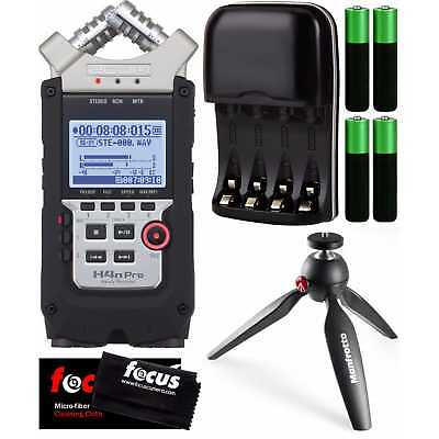 Zoom H4N Pro Four-Track Digital Recorder w/ Manfrotto Pixi Tripod (Black)