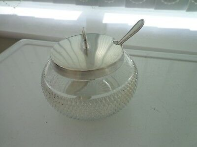 Vintage Glass Sugar Bowl With Silver Plated Lid And Spoon