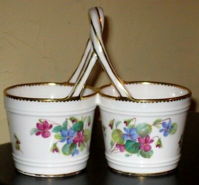 19thc Minton gilded double sweet pots with violet decoration