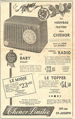 1951 The Baby Champ Radio Original Ad In French