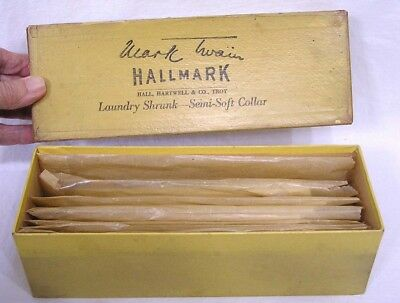 Vtg Box of Seven Packs Mark Twain Hallmark Shirt Collars Size 14 in OB