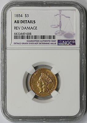 1854 Indian Princess Head Three Dollar Gold $3 AU Details NGC