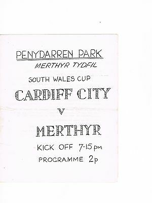 Merthyr Tydfil v Cardiff City 72/3 South Wales Senior Cup RARE 4 page issue.