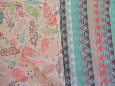 Feather Aztec teal coral baby infant toddler flannel swaddle 41x32 crib blanket.