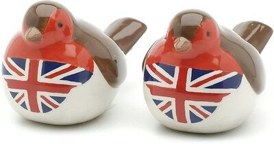 Union Jack Christmas Robins Salt & Pepper Cruet Set