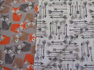 Woodland fox and arrows baby infant toddler flannel swaddle 41x32 crib blanket.
