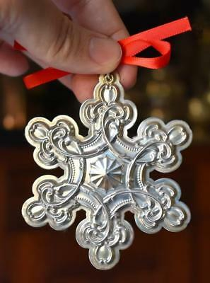 Lovely 2007 Wallace Grand Baroque Sterling Silver Snowflake Christmas Ornament