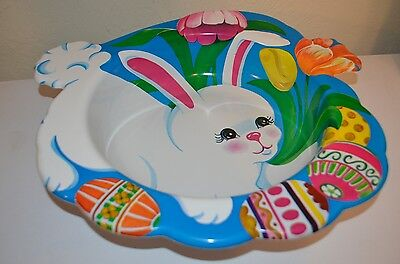 WHITE EASTER RABBIT BASKET Bunny Ullman Plastic Candy Bowl USA VTG 80s 90s NEW