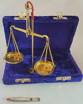 PURPLE 10g Brass Scales Indian Weigh Measure Small Weights Velour Box Fault*