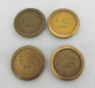 4 Vintage BRASS 1oz AVERY FLAT WEIGHTS  Various Stampings KITCHEN TRADE SCALES