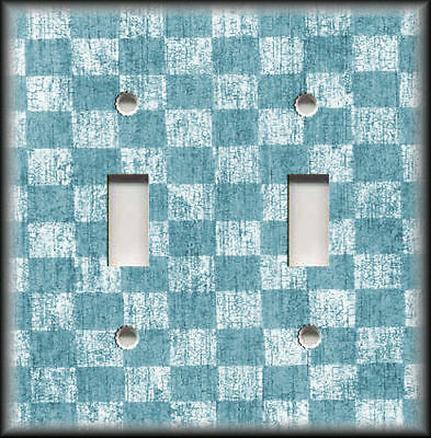 Metal Light Switch Plate Cover Antique Crackle Checkered Home Decor Blue White