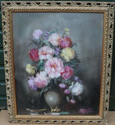 Beautiful Large Gilt Framed Painting On Canvas Of Vase Of Flowers Signed