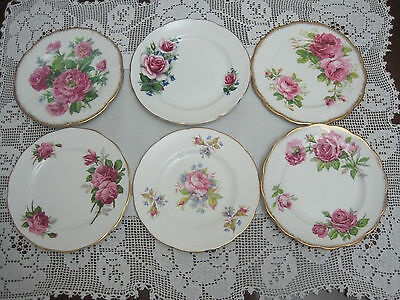 Six Beautiful Vintage Fine Bone China Tea Party Side Plates With Pink Roses