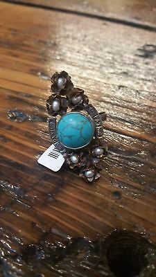 Barbosa San Miguel De Allende Mexico Turquoise Pearl Roses Adjustable Ring