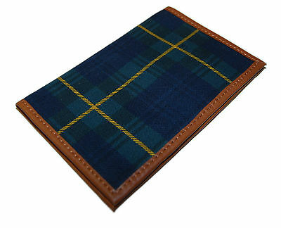 Polo Ralph Lauren Golf Scorecard Cover Holder Canvas Leather Plaid Blue Green
