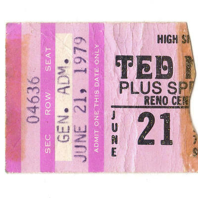 TED NUGENT Concert Ticket Stub RENO NV 6/21/79 Cat Scratch Fever STATE OF SHOCK
