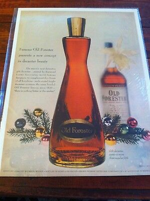 Vintage 1954 Old Forester Whiskey New Concept In Decanter Beauty Print Art ad
