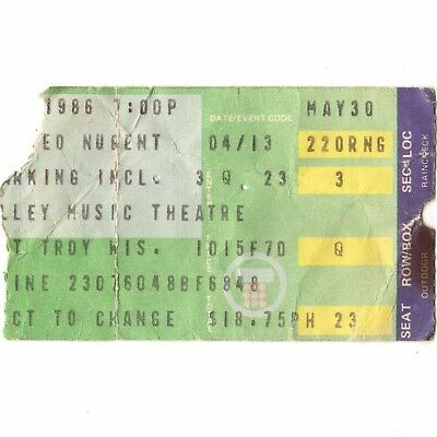 TED NUGENT Concert Ticket Stub ALPINE VALLEY WI 5/30/86 LITTLE MISS DANGEROUS
