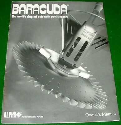 Owner's Manual for BARACUDA ALPHA Pool Cleaner TROUBLESHOOTING Parts Adjustments