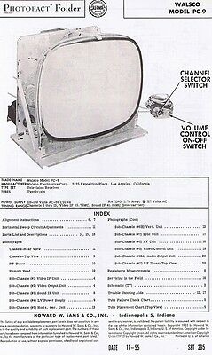 1955 Service Photofact 20 pg. Manual w-Schematic for WALSCO PC-9 Television TV