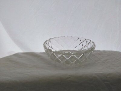 Vintage,Hocking Glass, Waterford or Waffle Pattern, Berry Bowl, Clear