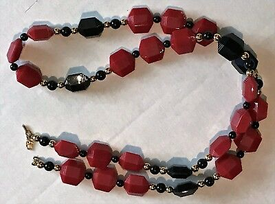 "Vintage Monet Red Black and Gold 32"" Necklace Plastic"
