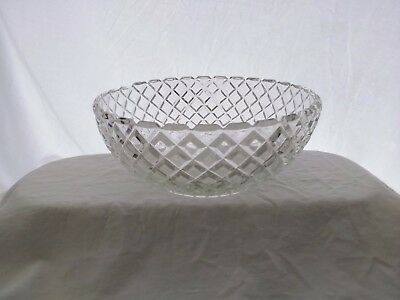 Vintage,Hocking Glass,Waterford or Waffle Pattern,Berry/Salad Serving Bowl,clear