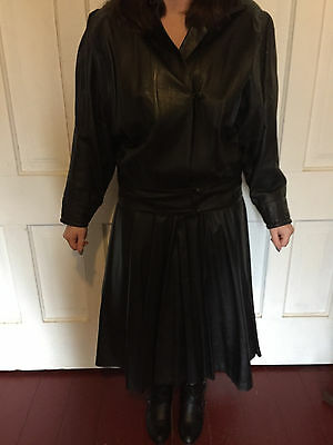 Woman's Black Leather Skirt and Blazer 80's