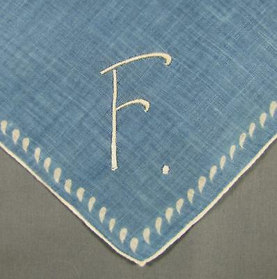 Monogrammed  ' F ' on solid blue with White borders  VINTAGE Hankie Handkerchief