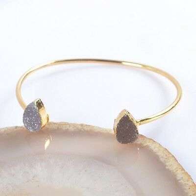 Drop Natural Agate Druzy Geode Bangle Gold Plated H91447